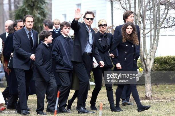 Actor Liam Neeson with sons Micheal Neeson and Daniel Neeson and Joely Richardson arrive for the funeral of actress Natasha Richardson at St Peter's...