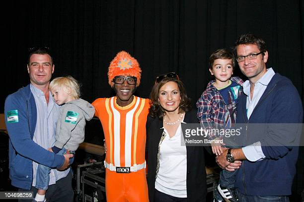 Actor Liev Schreiber, Alexander Pete Schreiber, DJ Lance Rock, actress Mariska Hargitay, August Hermann and Peter Hermann pose backstage with their...