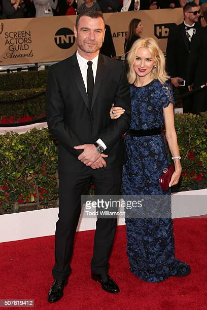 Actor Liev Schreiber and actress Naomi Watts attend the 22nd Annual Screen Actors Guild Awards at The Shrine Auditorium on January 30, 2016 in Los...