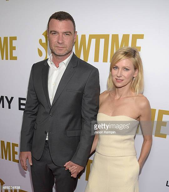Actor Liev Schreiber and actress Naomi Watts attend the Showtime 2015 Emmy Eve Party at Sunset Tower Hotel on September 19 2015 in West Hollywood...