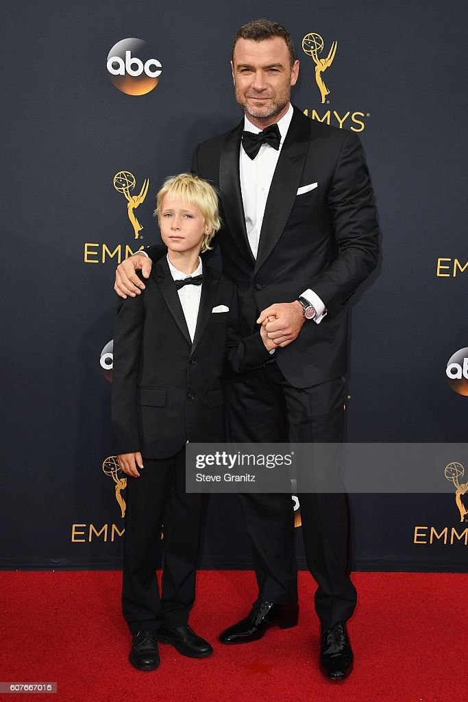 Actor Liev Schreiber (R) and Alexander Schreiber attend the 68th Annual Primetime Emmy Awards at Microsoft Theater on September 18, 2016 in Los Angeles, California.