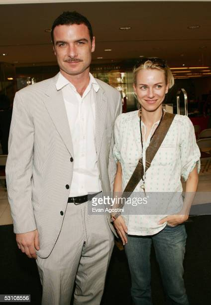Actor Liev Schreiber and girlfriend actress Naomi Watts attend a press preview and opening remarks for A Community of Artists 50 Years of The Public...