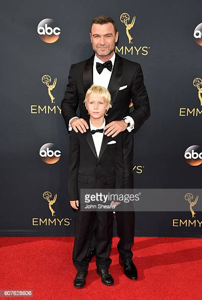 Actor Liev Schreiber and Samuel Kai Schreiber arrive at the 68th Annual Primetime Emmy Awards at Microsoft Theater on September 18, 2016 in Los...