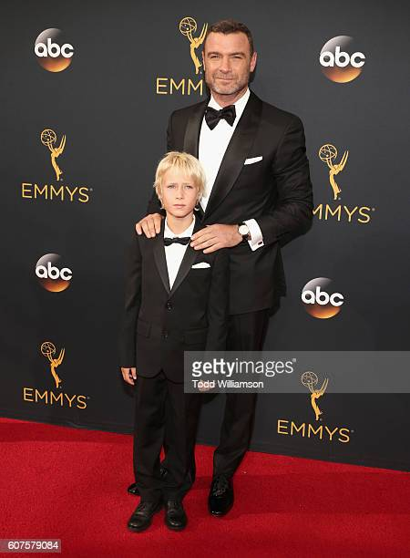 Actor Liev Schreiber and Samuel Kai Schreiber attend the 68th Annual Primetime Emmy Awards at Microsoft Theater on September 18 2016 in Los Angeles...