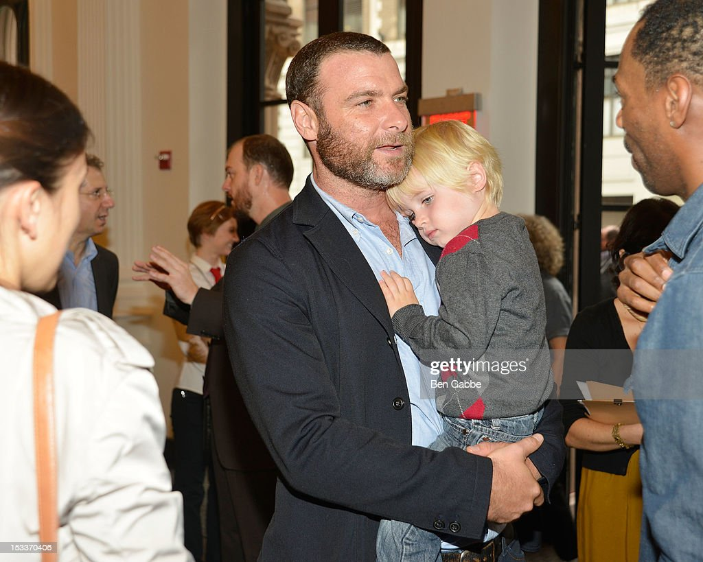 Actor Liev Schreiber and son Alexander Schreiber attend the Public Theater unveiling on October 4, 2012 in New York City.