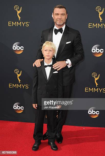 Actor Liev Schreiber and son Samuel Schreiber arrive at the 68th Annual Primetime Emmy Awards at Microsoft Theater on September 18 2016 in Los...