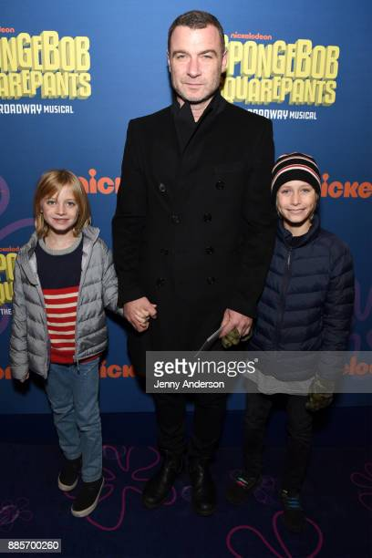 Actor Liev Schreiber attends Opening Night of Nickelodeon's SpongeBob SquarePants The Broadway Musical at Palace Theatre on December 4 2017 in New...