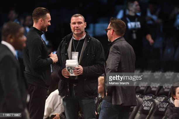 Actor Liev Schreiber looks on before the game between the Utah Jazz and the Brooklyn Nets at Barclays Center on January 14 2020 in New York City NOTE...