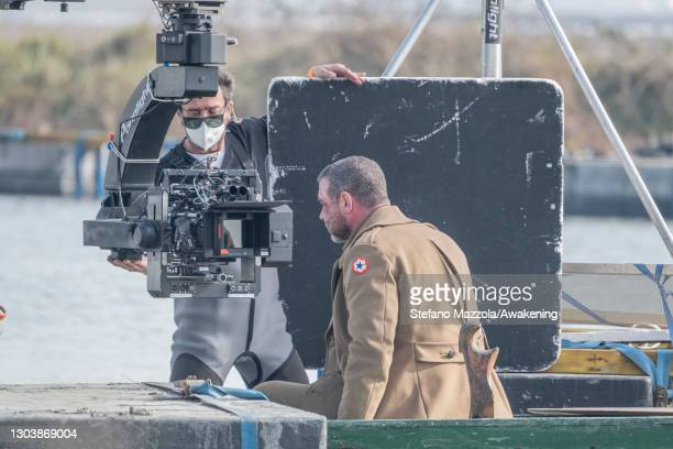 Actor Liev Schreiber on set in Lio Piccolo during filming for the film 'Across the River and Into the Trees on February 24, 2021 in Venice, Italy.