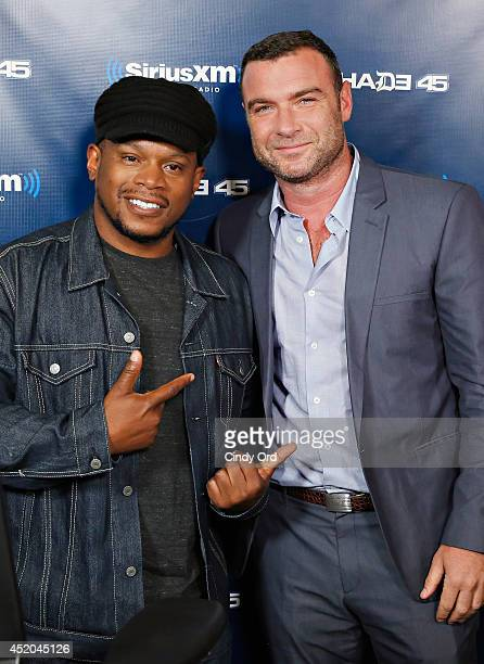 Actor Liev Schreiber visits 'Sway in the Morning' with Sway Calloway on Eminem's Shade 45 at the SiriusXM Studios on July 11, 2014 in New York City.