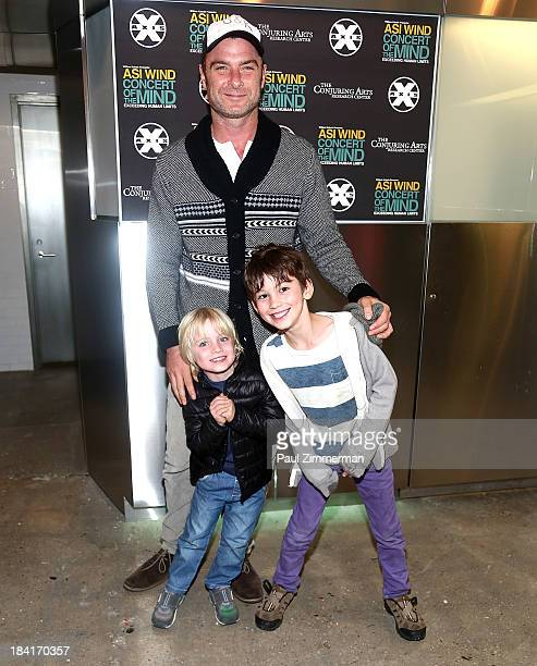 """Actor Liev Schreiber with sons Samuel Kai Schreiber and Alexander Pete Schreiber attend the opening night of Asi Wind's """"Concert Of The Mind"""" at Axis..."""