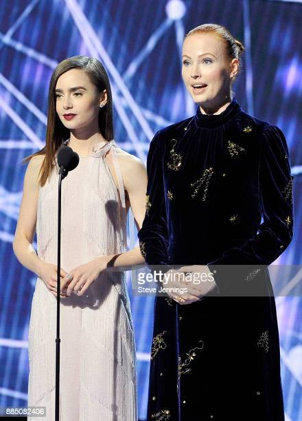 Actor Lily Collins and Breakthrough Prize cofounder Julia Milner speak onstage during the 2018 Breakthrough Prize at NASA Ames Research Center on...