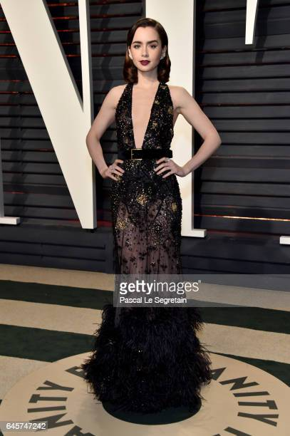 Actor Lily Collins attends the 2017 Vanity Fair Oscar Party hosted by Graydon Carter at Wallis Annenberg Center for the Performing Arts on February...