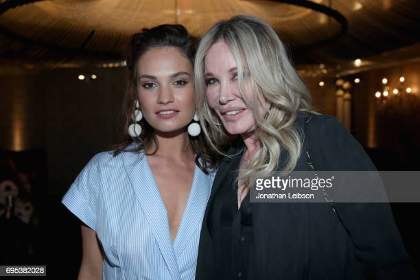 Actor Lily James and producer Christine ForsythPeters attend DuJour's Summer Issue Cover Party with Lily James presented by Belvedere Vodka at Beauty...