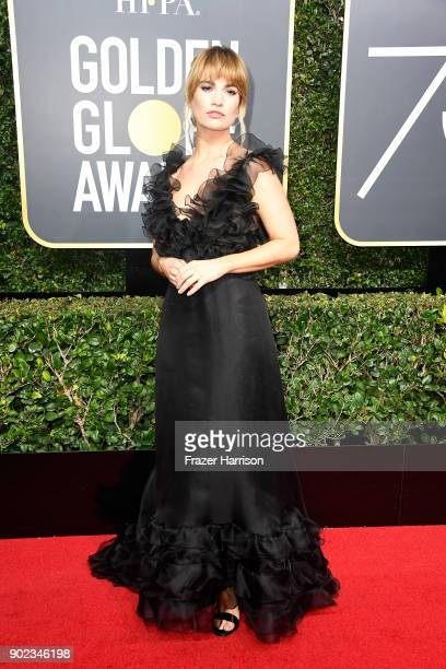 Actor Lily James attends The 75th Annual Golden Globe Awards at The Beverly Hilton Hotel on January 7 2018 in Beverly Hills California