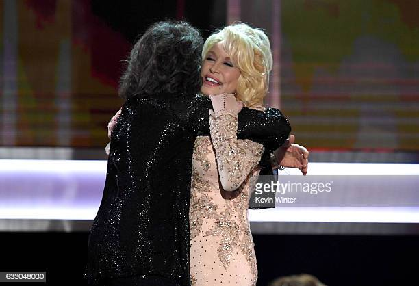 Actor Lily Tomlin accepts the 2016 SAG Life Achievement Award from actor/singer Dolly Parton onstage during The 23rd Annual Screen Actors Guild...