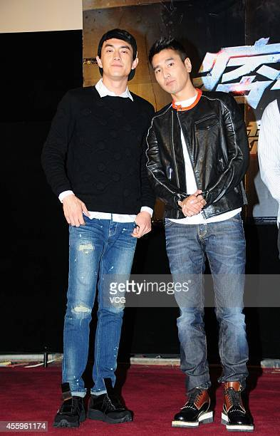 Actor Lin Gengxin and actor Mark Zhao arrive at the red carpet for Black and White The Dawn of Justice/Black White Episode 2 Premiere Press...