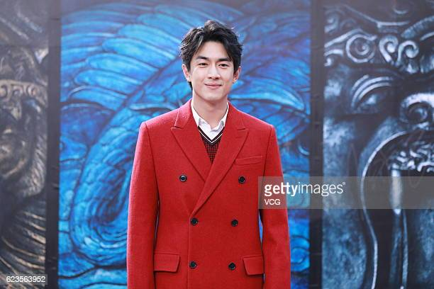 Actor Lin Gengxin attends the press conference of director Zhang Yimou's film The Great Wall on November 15 2016 in Beijing China