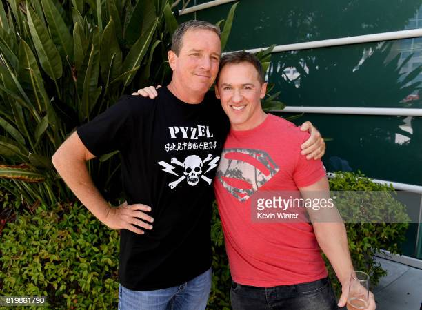 Actor Linden Ashby and executive producer Jeff Davis from 'Teen Wolf' celebrate their final season backstage after their Hall H panel during ComicCon...