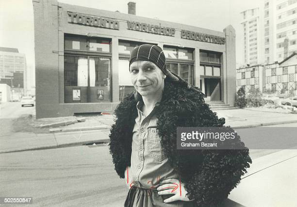 Actor Lindsay Kemp poses in front of Toronto Workshop Productions.