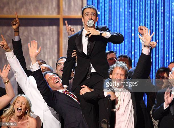 Actor LinManuel Miranda and cast members from 'In the Heights' celebrate on stage after winning for best musical during the 62nd Annual Tony Awards...