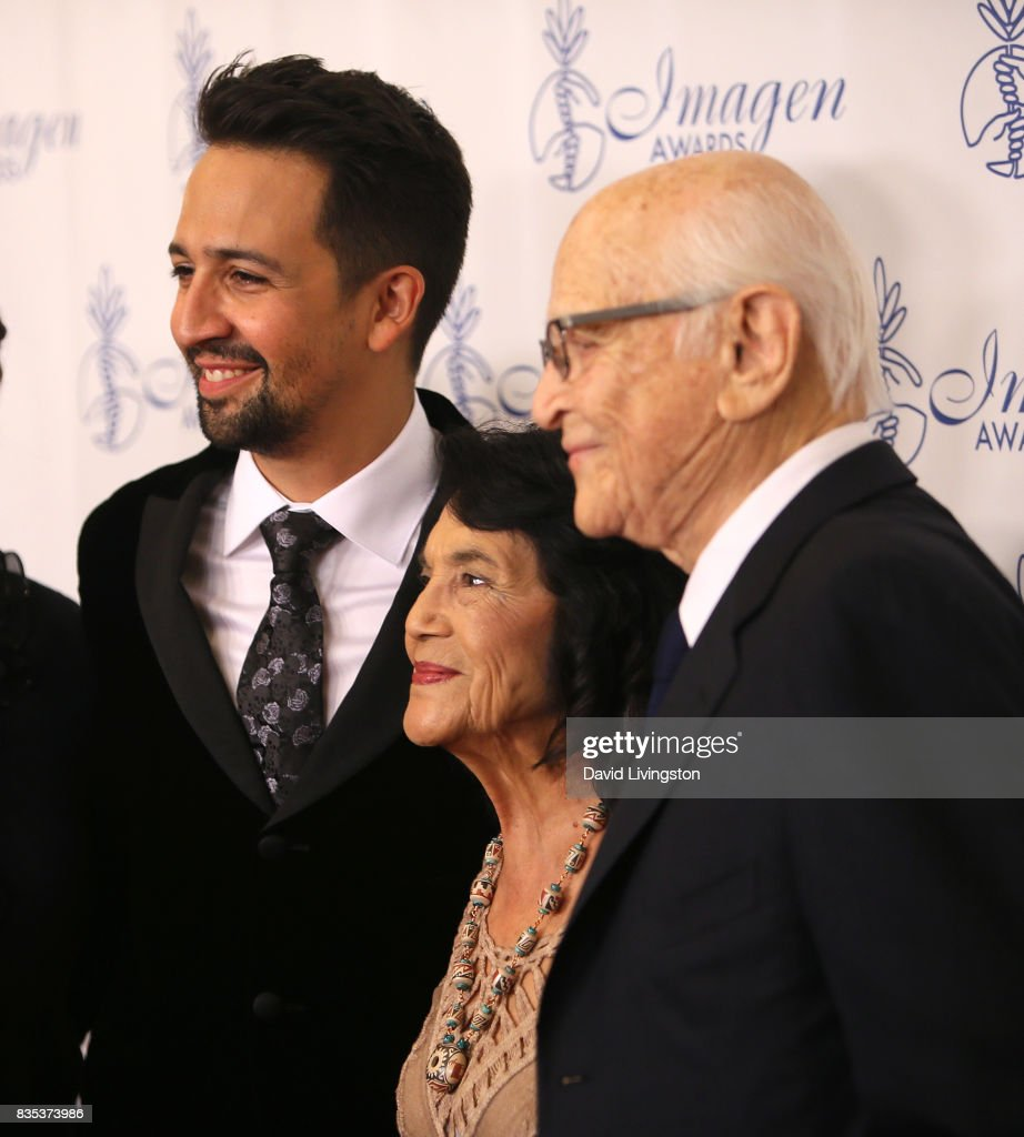 Actor Lin-Manuel Miranda, Dolores Huerta, and writer Norman Lear attend the 32nd Annual Imagen Awards at the Beverly Wilshire Four Seasons Hotel on August 18, 2017 in Beverly Hills, California.