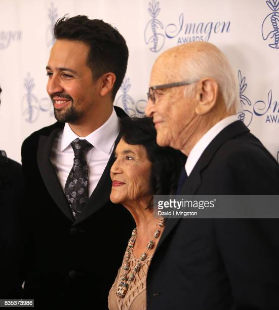 Actor LinManuel Miranda Dolores Huerta and writer Norman Lear attend the 32nd Annual Imagen Awards at the Beverly Wilshire Four Seasons Hotel on...