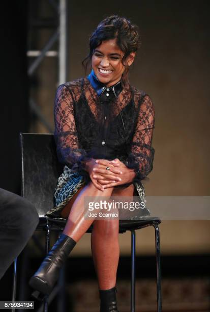 Actor Linnea Berthelsen speaks onstage during the 'Stranger Things Inside the Upside Down' panel part of Vulture Festival LA Presented by ATT at...