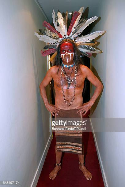 Actor Lionel Abelanski poses Backstage after 'Du vent dans les branches de Sassafras' Theater Play Live on France 2 TV Chanel Held at Theatre Edouard...