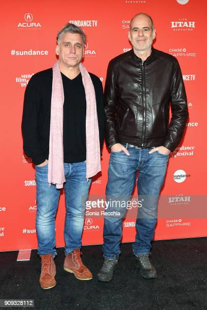 Actor Lior Ashkenazi and director Samuel Maoz attend the 'Foxtrot' Premiere during the 2018 Sundance Film Festival at Park City Library on January 23...