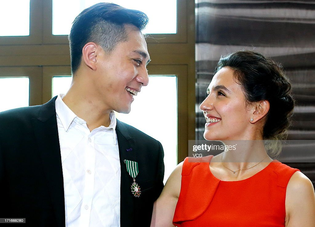 Actor Liu Ye and his wife attend the 'Chevalier De L'Ordre Des Arts Et Des Lettres' Awards at Embassy of France on June 27, 2013 in Beijing, China.