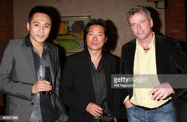 Actor Liu Ye Director Chen ShiZheng and Actor Aidan Quinn attend a private screening of 'Dark Matter' at the Tribeca Grill on April 7 2008 in New...