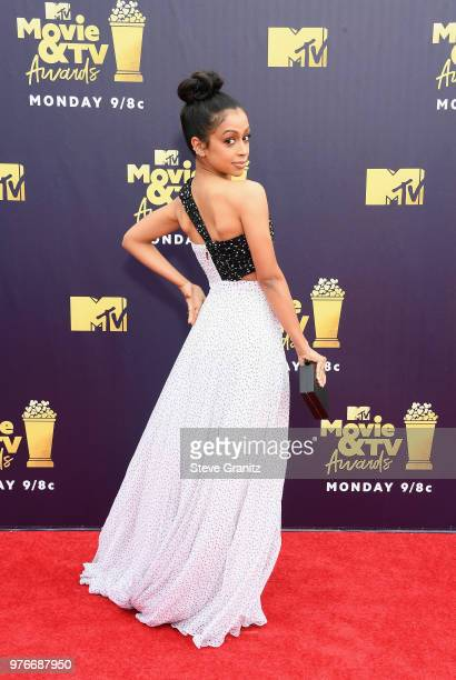 Actor Liza Koshy attends the 2018 MTV Movie And TV Awards at Barker Hangar on June 16 2018 in Santa Monica California