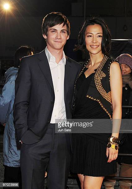 """Actor Logan Lerman and actress Yoshino Kimura attend the """"Percy Jackson & The Olympians: The Lightning Thief"""" Japan Premiere at Tokyo Dome City on..."""