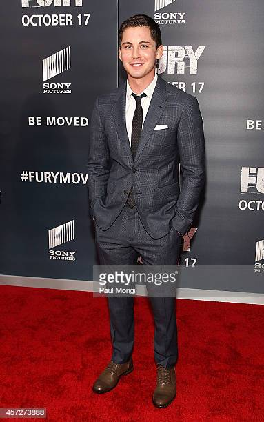 Actor Logan Lerman attends the Fury Washington DC Premiere at The Newseum on October 15 2014 in Washington DC