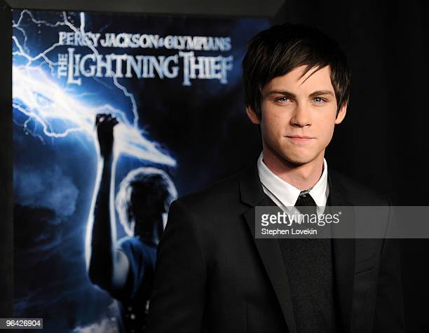 Actor Logan Lerman attends the premiere of Percy Jackson The Olympians The Lightning Thief at AMC Lincoln Square 13 on February 4 2010 in New York...