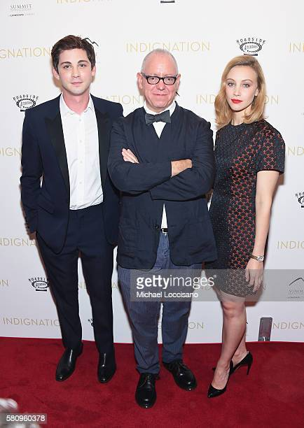 Actor Logan Lerman Director/Writer/Producer James Schamus and actress Sarah Gadon attend the Indignation New York premiere at the Museum of Modern...