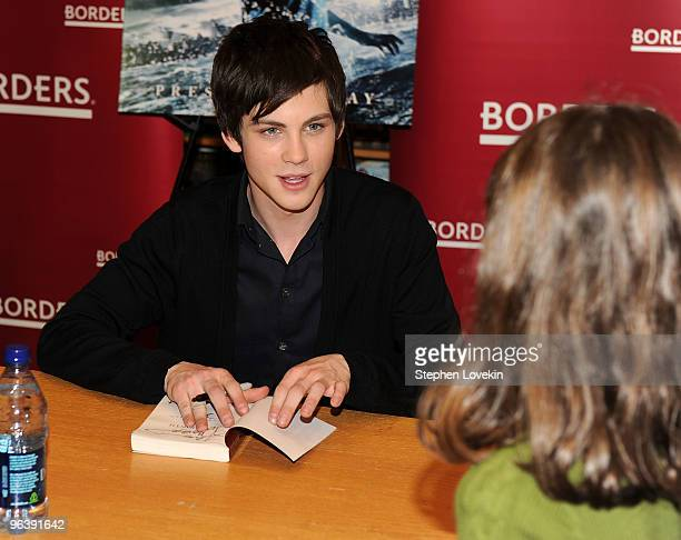 Actor Logan Lerman promotes Percy Jackson And The Olympians The Lightning Thief at Borders Kips Bay on February 3 2010 in New York City