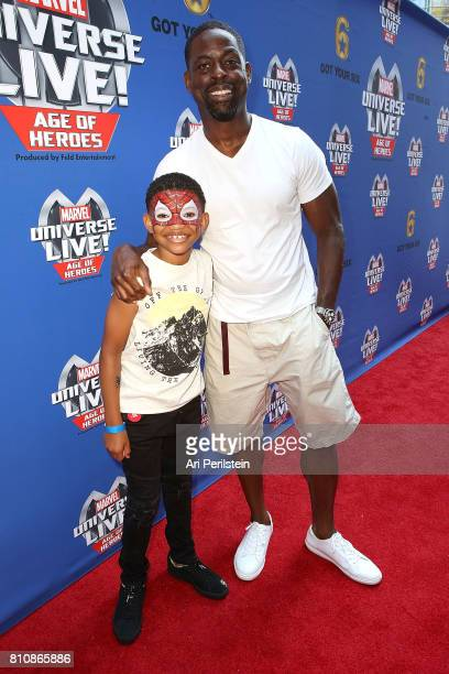 Actor Lonnie Chavis and Actor Sterling K Brown arrive at Marvel Universe LIVE Age Of Heroes World Premiere Celebrity Red Carpet Event at Staples...