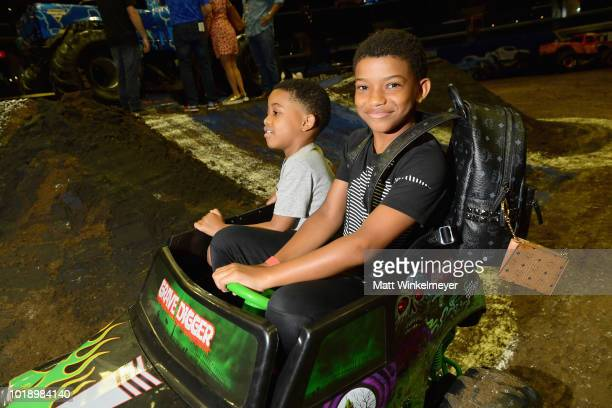 Actor Lonnie Chavis and guest attend Monster Jam at STAPLES Center on Saturday August 18 2018 in Los Angeles CAa