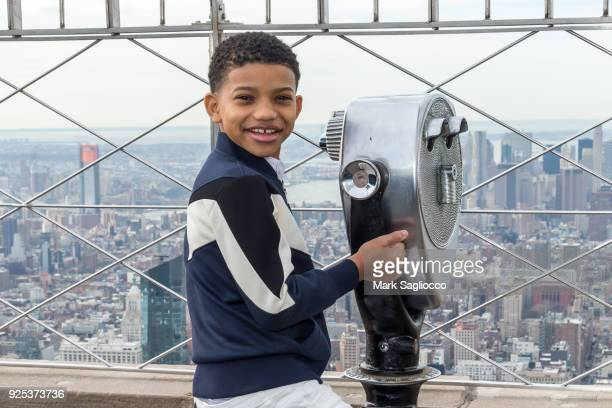 Actor Lonnie Chavis of 'This is Us' visits the Empire State Building on February 28 2018 in New York City