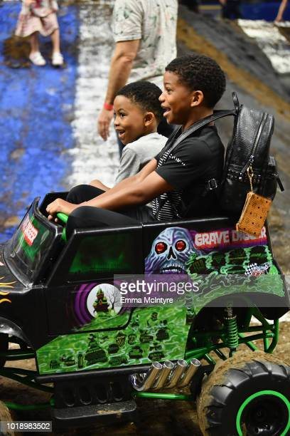 Actor Lonnie Chavs and guest attend Monster Jam at STAPLES Center on Saturday August 18 2018 in Los Angeles CA