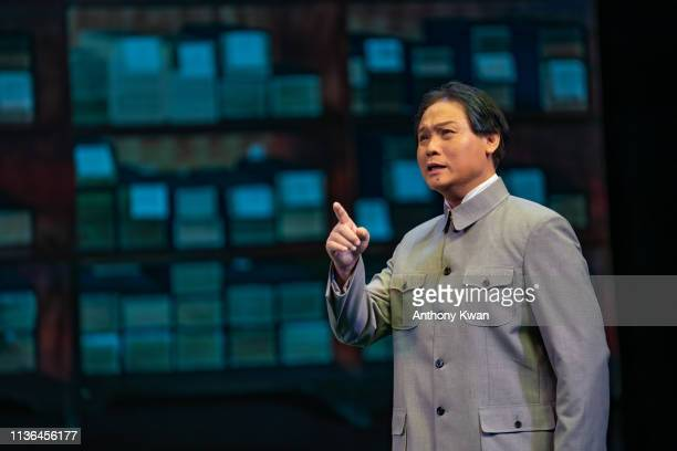 Actor Loong Koon Tin dressed as Mao Zedong performs on stage during a rehearsal of a Cantonese opera Trump on Show on April 11 2019 in Hong Kong Hong...