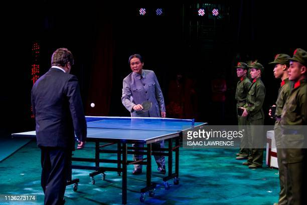Actor Loong Koontin dressed as the late Chinese leader Mao Zedong preforms during a rehearsal of a Cantonese opera called Trump on Show in Hong Kong...