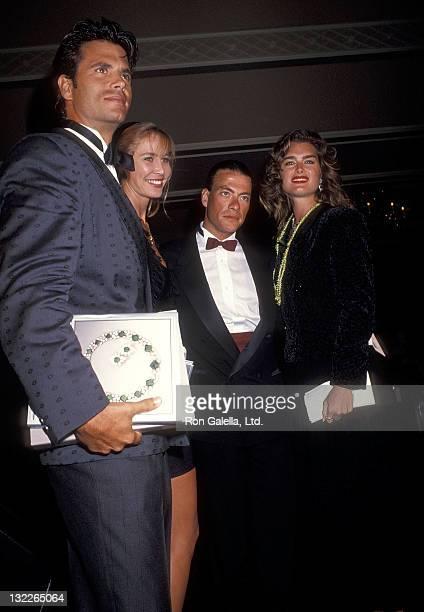 Actor Lorenzo Lamas actress Kathleen Kinmont actor JeanClaude Van Damme and actress Brooke Shields attend the RitzCarlton Mauna Lana Celebrity Sports...