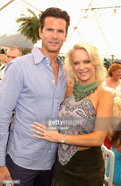 Actor Lorenzo Lamas and playmate Barbara Moore at the Playmate of the Year 2004 presentation Carmella DeCesare was named Playboy's Playmate of the...