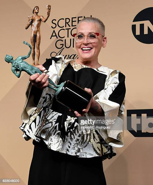 Actor Lori Petty, winner of the Outstanding Ensemble in a Comedy Series award for 'Orange Is the New Black,' poses in the press room during the 23rd...