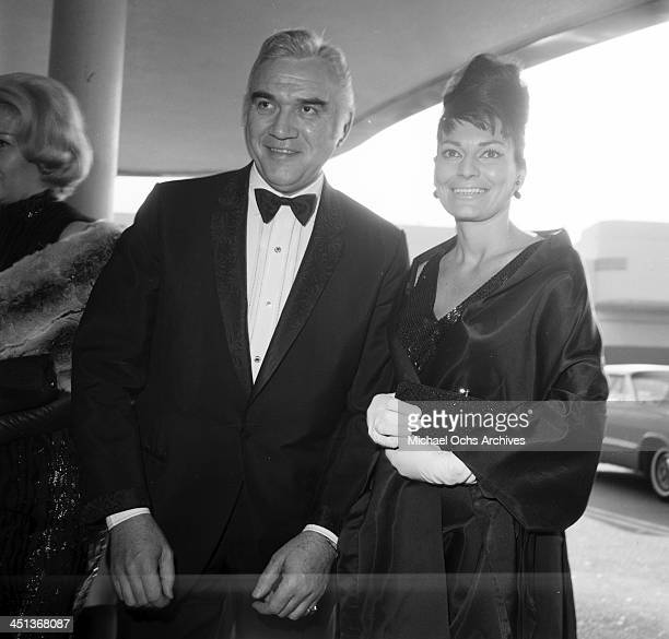 Actor Lorne Greene and his wife Nancy Deale attend a party in Los Angeles California
