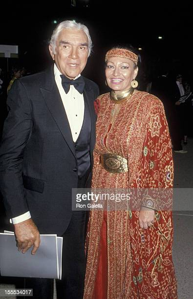Actor Lorne Greene and wife Nancy Deale attend 37th Annual Primetime Emmy Awards on September 25 1985 at the Pasadena Civic Auditorium in Pasadena...