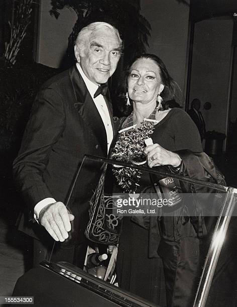 Actor Lorne Greene and wife Nancy Deale sighted at the Century Plaza Hotel in Century City California